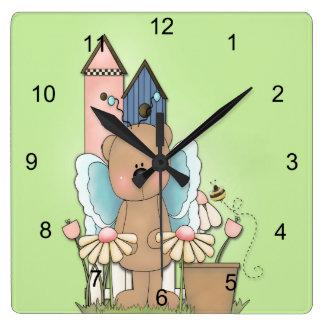 Teddy Bear in Garden Square Wall Clock