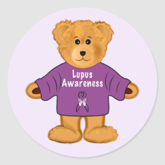 Teddy Bear in Lupus Awareness Sweater Classic Round Sticker