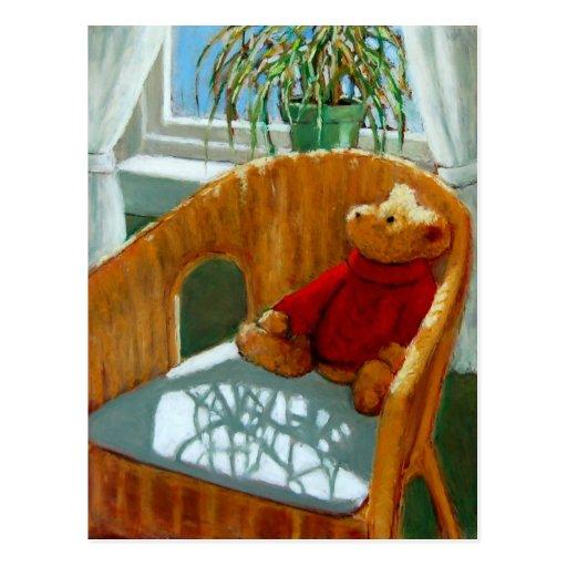 TEDDY BEAR IN PASTEL: ART POSTCARD