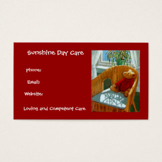 Teddy Bear in Pastel: Day Care Business: Red Business Card