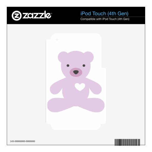 Teddy Bear in Purple iPod Touch 4G Decals
