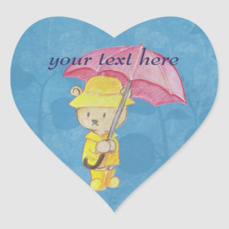 Teddy Bear in Raincoat Stickers