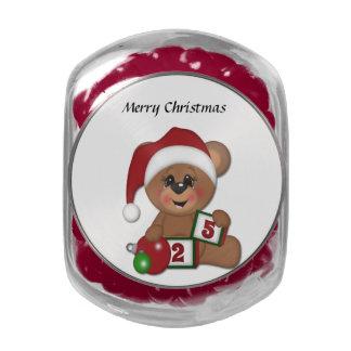 Teddy Bear in Santa Hat Glass Candy Jars