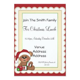Teddy Bear in Santa Hat Invitations