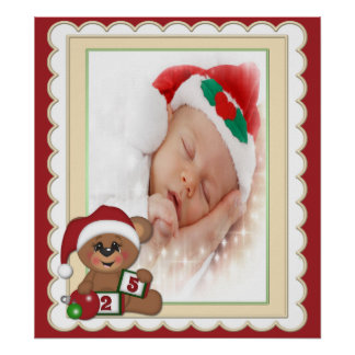 Teddy Bear in Santa Hat Photo Template Poster
