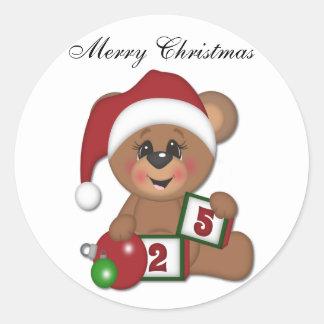 Teddy Bear in Santa Hat Stickers