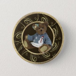Teddy Bear in Snowman Sweater Classy Button