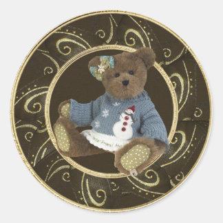 Teddy Bear in Snowman Sweater Classy Stickers