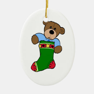 Teddy Bear in Stocking - Oval Ornament