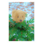 Teddy Bear in the Holly, blue sky Personalized Stationery