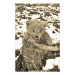 Teddy Bear in the Holly,Sepia tone Personalized Stationery
