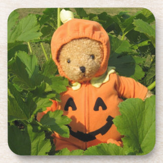 Teddy Bear in the Pumpkin Patch Beverage Coaster