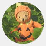 Teddy Bear in the Pumpkin Patch Stickers