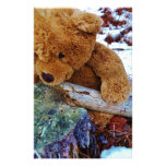 Teddy Bear in the Snow Customized Stationery