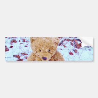 Teddy Bear in the Snow, denim blue tint Bumper Sticker