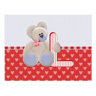 Teddy Bear Initial L Postcard
