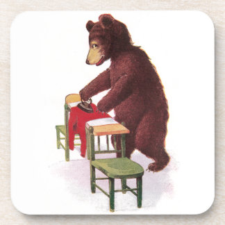 Teddy Bear Ironing Clothes Beverage Coaster