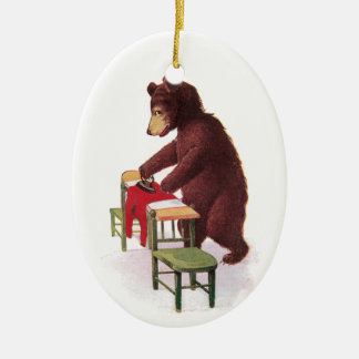 Teddy Bear Ironing Clothes Ceramic Ornament