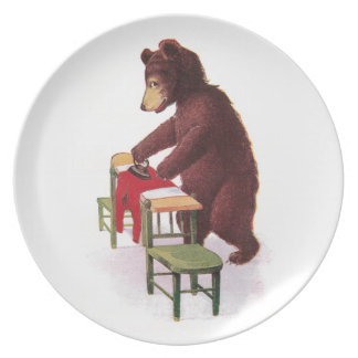 Teddy Bear Ironing Clothes Dinner Plate