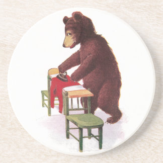 Teddy Bear Ironing Clothes Drink Coaster