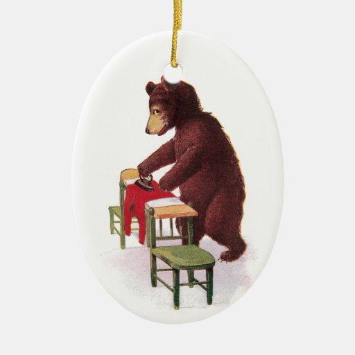 Teddy Bear Ironing Clothes Christmas Tree Ornaments