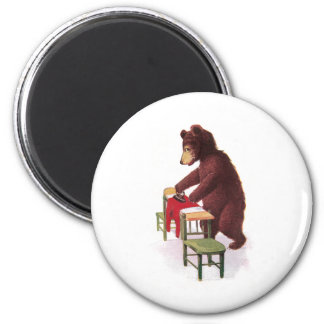 Teddy Bear Irons Clothes 2 Inch Round Magnet