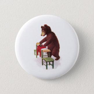Teddy Bear Irons Clothes Pinback Button