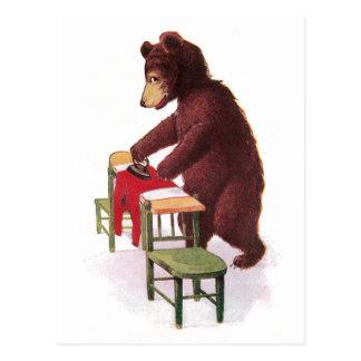 Teddy Bear Irons Clothes Postcard