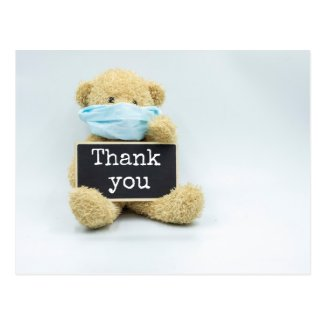 Teddy bear is holding sign thank you postcard