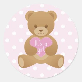 """Teddy bear """"It""""s a girl"""" pink sticker"""