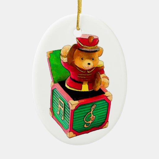 Teddy Bear JAck in the Box Christmas Tree Ornaments
