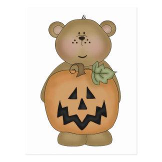 Teddy Bear Jack O'Lantern Postcard