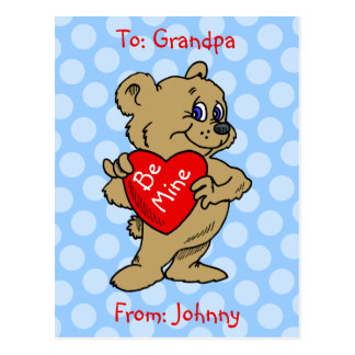 Teddy Bear Kids Valentine Postcard