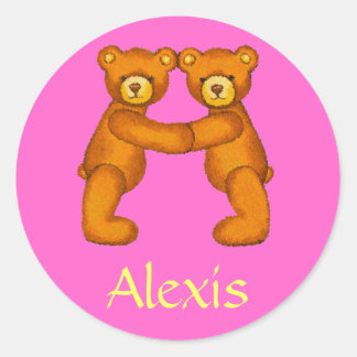 Teddy Bear Letter Alphabet~Initial A~Name Stickers