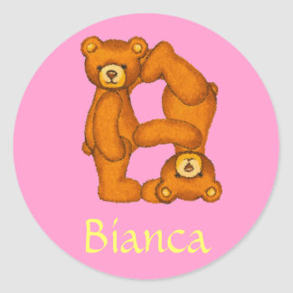Teddy Bear Letter Alphabet~Initial B~Name Stickers