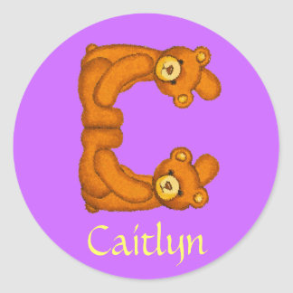 Teddy Bear Letter Alphabet~Initial C~Name Stickers