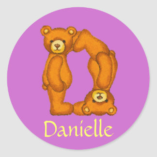 Teddy Bear Letter Alphabet~Initial D~Name Stickers