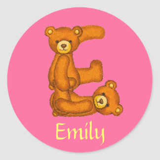 Teddy Bear Letter Alphabet~Initial E~Name Stickers