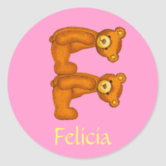 Teddy Bear Letter Alphabet~Initial F~Name Stickers