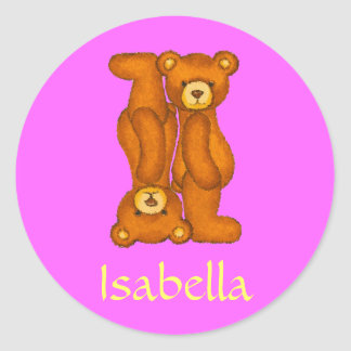 Teddy Bear Letter Alphabet~Initial I~Name Stickers