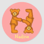 Teddy Bear Letter Alphabet~Initial N~Name Stickers