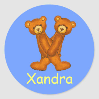 Teddy Bear Letter Alphabet~Initial X~Name Stickers