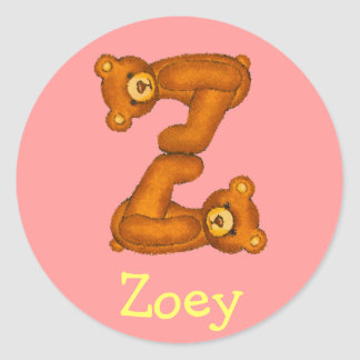 Teddy Bear Letter Alphabet~Initial Z~Name Stickers