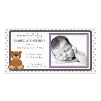 Teddy Bear Lilac Customized Birth Announcement