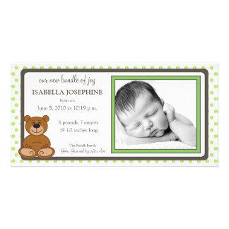 Teddy Bear Lime Customized Birth Announcement