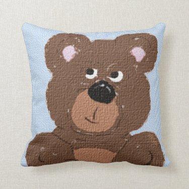 Teddy Bear Linen Blue Pillows