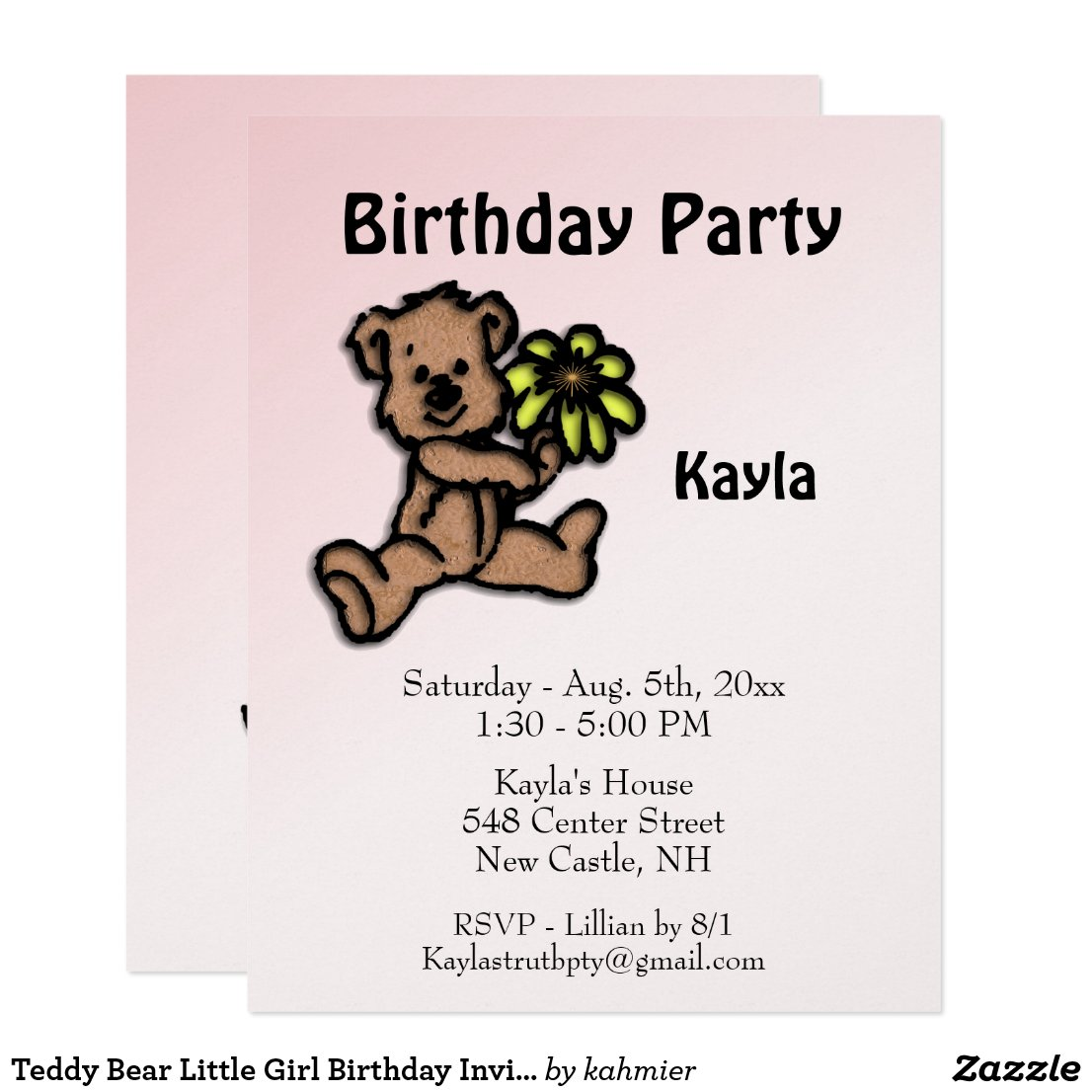 Teddy Bear Little Girl Birthday Invitation