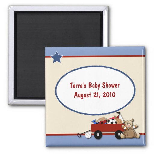 Teddy Bear Little Red Wagon Baby Shower Magnet