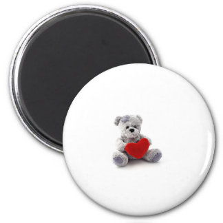TEDDY BEAR LOVE HEART 2 INCH ROUND MAGNET