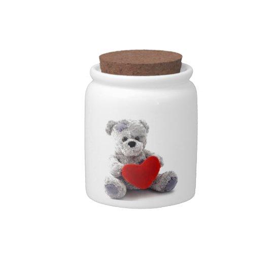 TEDDY BEAR LOVE HEART CANDY DISH